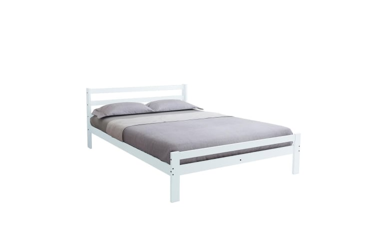 Bed Frame Queen Size Mattress Base Pine Wood Platform Bedroom Furniture -  White