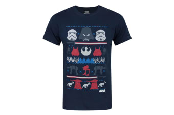 Star Wars Mens Dark Side Fair Isle Christmas T-Shirt (Blue)