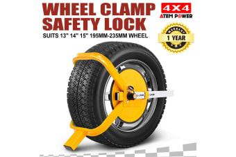 "ATEM POWER Wheel Defender Lock Clamp 13"" 14"" 15"" Car Caravan Trailer 195mm-235mm Heavy Duty"