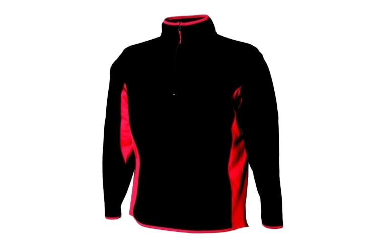 Finden & Hales Womens/Ladies Lightweight Microfleece Top With Side Panel (Black/Red) (L)