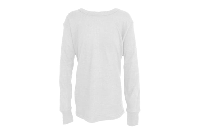 FLOSO Unisex Childrens/Kids Thermal Underwear Long Sleeve T-Shirt/Top (White) (Chest: 30-32inch  76-81 cm (Age 12-13))