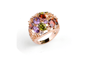 18K RoseGold Plated Cubic Colored Zircon Ring  7