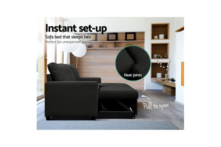Artiss Sofa Bed Lounge Set 3 Seater Futon Couch Storage Chaise Corner Fabric