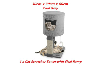 Grey Cat Scratching Tower Sleeper Toy Tree Hideaway House Post Sisal Pole Scratcher