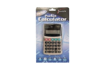 Jastek Home/Office 8 Digit Pocket Calculator Large Display/Solar/Battery Powered