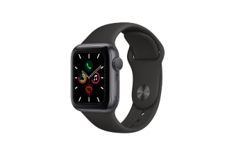 Apple Watch Series 5 (Space Gray Aluminum, 40mm, Black Sport Band, Cellular)