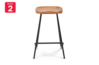Shangri-La Set of 2 Redmond Industrial Timber Top Stools