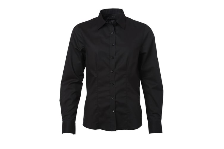 James and Nicholson Womens/Ladies Longsleeve Oxford Shirt (Black) (XS)