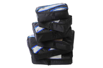 6 Pcs Travel Cubes Storage Toiletry Bag Clothes Luggage Organizer Packing Bags Black