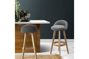Artiss 2x Kitchen Bar Stools Wooden Stool Chairs Swivel Barstools Fabric Grey