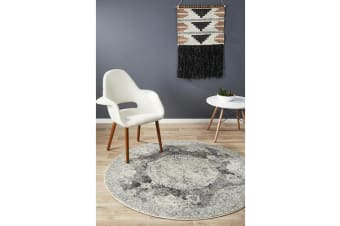 Hazel Charcoal & Grey Durable Vintage Look Round Rug