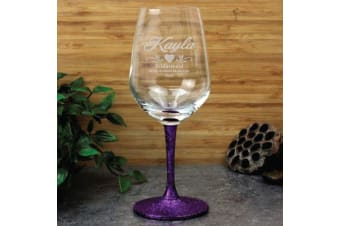 Bridesmaid Engraved Personalised Wine Glass 450ml