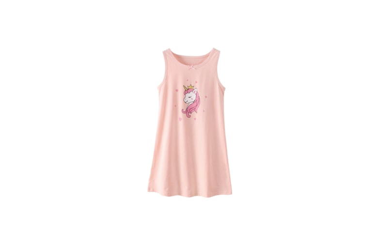 Nightgowns For Girls Cotton Pajamas Dresses - Pink Horse Pink 130Cm