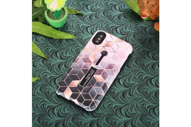 For iPhone XS Max Case Light Pink Embossed Rhombus Pattern TPU PC Back Cover