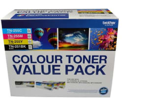 Brother TN251BK and TN255 Colour Laser Toner Value Pack. Black, Cyan, Magenta, Yellow (8AE00003)