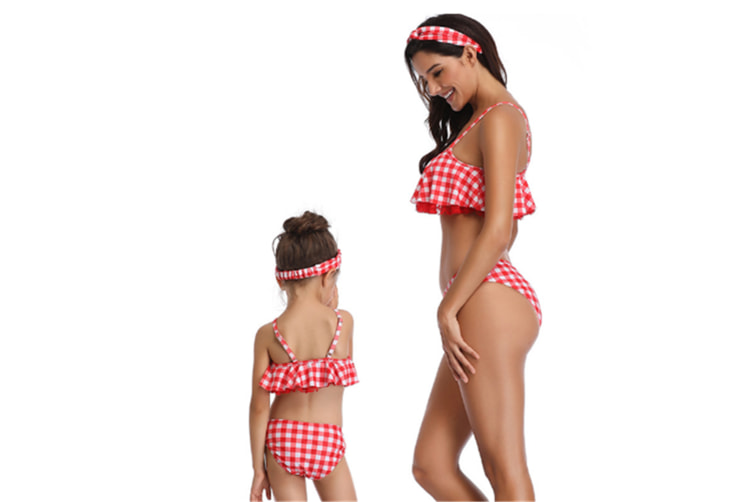 Tassels Family Matching Swimsuits Mom And Daughter Bikini Red Checked M