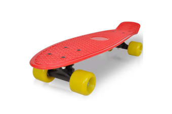 vidaXL Retro Skateboard with Red Top Yellow Wheels 6.1""