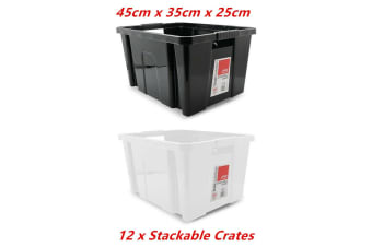12 x Large Stackable Crate 45X35X25CM Box Storage Plastic Container Handle