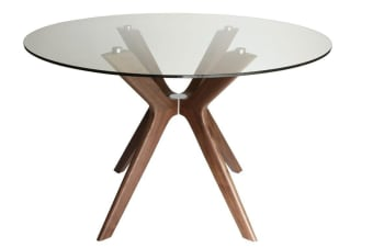 Doreen Collection | Glass Round Dining Table | Walnut | 120cm