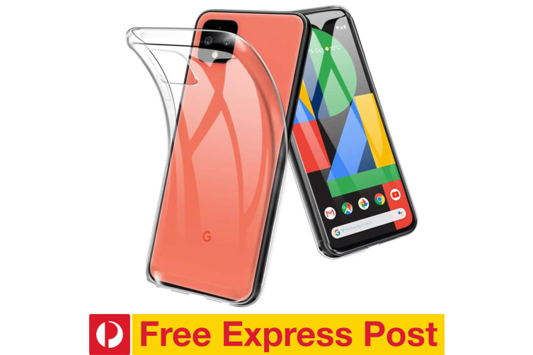 Google Pixel 4 Ultra Slim Premium Crystal Clear TPU Gel Back Case by MEZON – Shock Absorption, Wireless Charging Compatible – With Screen Protector (Pixel 4, Gel) – FREE EXPRESS