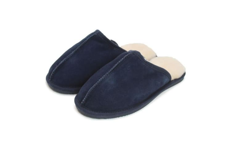Eastern Counties Leather Unisex Sheepskin Lined Mule (Navy) (6 UK)