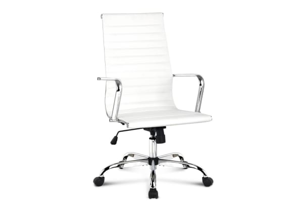Replica Eames PU Leather High Back Office Chair (White)