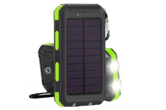TODO Todo 8000Mah Solar Power Bank Mobile Phone Usb Iphone Charger Led Torch - Black Green