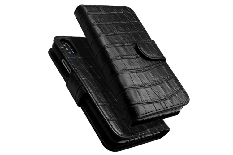 For Iphone Xs X Case Icoverlover Crocodile Texture Genuine Leather Wallet Black