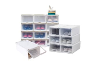 6PCS Storage Clear Drawer Shoe Boxes Stackable Foldable Case Home Wardrobe