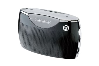PYE Black Portable AM-FM Radio Speaker w/ 3.5mm Aux in/AC/DC/Battery Powered