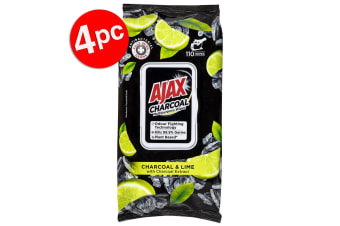 4x 110pc Ajax Plant Based Cleaning Multipurpose Towelettes Wipes Charcoal & Lime