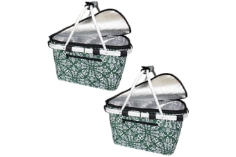 2x Sachi Collapsible Foldable Insulated Picnic Shopping Bag w  Lid Bohemian GRN