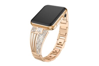 Suitable For Apple Watch Fan-Shaped Stainless Steel Alloy Flash Drill Strap-42/44mm-ROSE GOLD