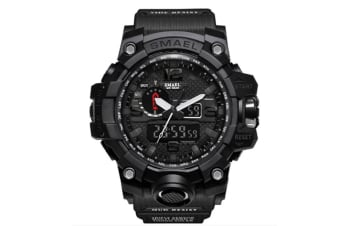 Men'S Large Dual Dial Analog Digital Quartz Multifunction Electronic Sport Watch Black