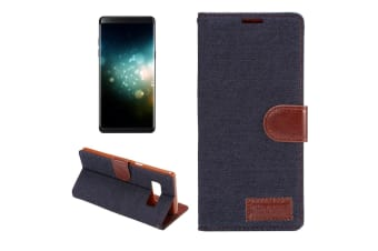 For Samsung Galaxy Note 8 Wallet Case Stylish Denim Texture Leather Cover Black