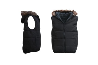 Unisex Women's Men's Faux Fur Hooded Puffy Puffer Sleeveless Vest Quilted Jacket - Black - Black