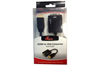 8Ware HDMI 19-pin to VGA 15-pin Male to Female Converter without Power Adapter plus 3.5mm Stereo Audio Out