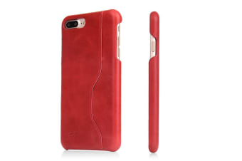 For iPhone 8 PLUS 7 PLUS Wallet Case Elegant Waxed Cow Durable Leather Cover Red
