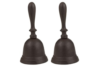 2PK  Dinner Bell Rustic Cast Iron Metal 9x20cm Shop Hotel School Reception