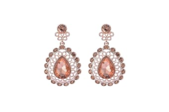 Intrigue Womens/Ladies Sparkly Antique Look Earrings (Rose Gold) (One Size)