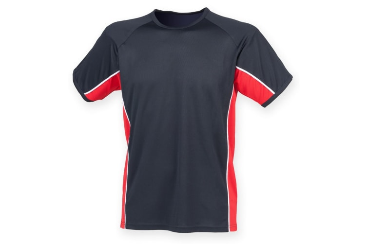 Finden & Hales Mens Short Sleeve Performance Panel Sports T-Shirt (Navy/ Red/ White) (3XL)