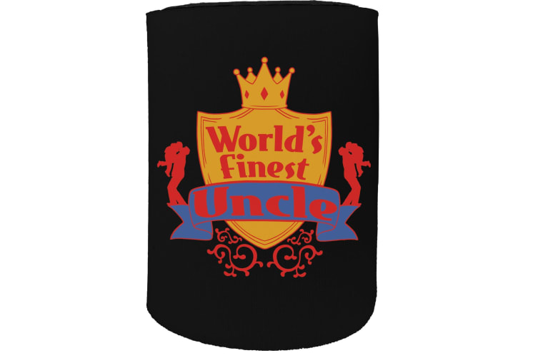 123t Stubby Holder - worlds finest uncle - Funny Novelty