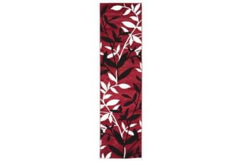 Stunning Spring Leaf Rug Red Black 300x80cm