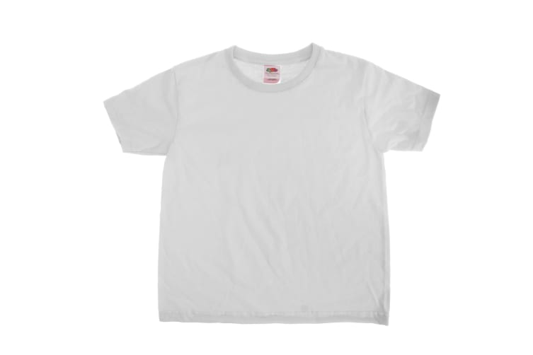Fruit Of The Loom Kids Sofspun Short Sleeve T-Shirt (White) (7-8)