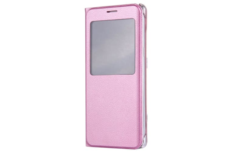 For Samsung Galaxy Note FE Case Lychee Leather Caller ID Display Cover Pink