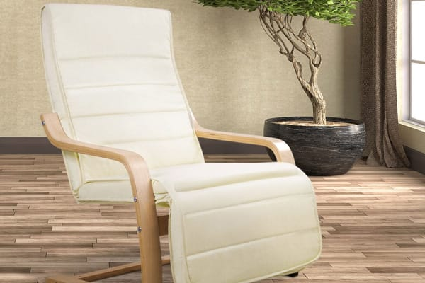 Birch Bentwood Adjustable  Lounge Arm Chair with Fabric Cushion (Beige)