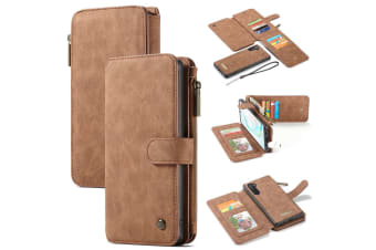 For Samsung Galaxy Note 10 Case  Wallet PU Leather Detachable Flip Cover  Brown