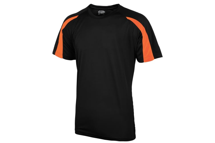 Just Cool Mens Contrast Cool Sports Plain T-Shirt (Jet Black/Electric Orange) (S)