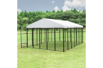 New Pet Dog Kennel Run Enclosure 4.2x3x2.1m Galvanised Steel Play Pen Fence w/Fabric Cover