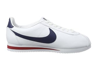 Nike Men's Classic Cortez Leather Shoe (White/Navy/Red, Size 9.5)